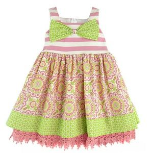 Rare Editions Counting Daisies Bow Girls Dress NWT